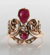 LARGE 9K 9CT ROSE GOLD INDIAN RUBY PEARL & DIAMOND ART DECO INS CROWN RING