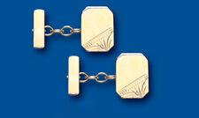 Oro Gemelos Con Cadena Oro Amarillo Macizo Rectangular Hecho En Gran Bretaña