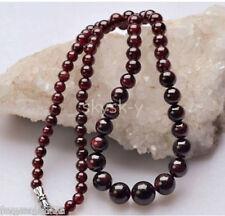"New Brazil Natural Genuine Garnet Round Gemstone Beads Necklace 18"" AAA"