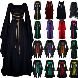 Halloween Women Renaissance Medieval Gothic Witch Costume Fancy Dress Cosplay