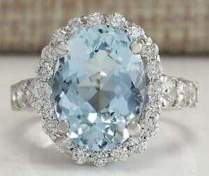 4.50 Carat Natural Aquamarine 14K White Gold Diamond Ring