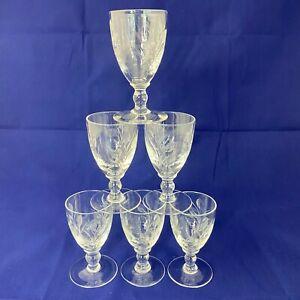 Vintage Antique Late Victorian Dessert Wine or Cordial Glasses - Set of 6