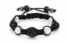 SHAMBALLA BRACELET High Quality Black & White Stunning CRYSTAL & Hematite Beads