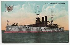 USS WISCONSIN PC Postcard BATTLESHIP BB-9 US Navy NAVAL USN Military WAR Ship