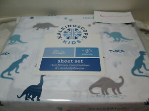 Kaleidoscope LUKE DINOSAURS Twin  3 pc Sheeet Set ~ Blue, Grey, Navy NEW