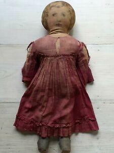 RARE Antique 1900s ART FABRIC MILLS Cloth Lithograph LARGE DOLL w PERIOD DRESS