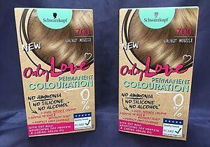 ABOXOV 2 x Schwarzkopf Only Love 7.00 Walnut Mousse Permanent Hair Colour Dye