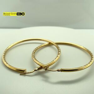 Fully Hallmarked Large Gold On 925 Silver Patterned Hoop Earrings - FREE P&P
