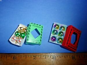 2 BOXES OF CHRISTMAS TREE ORNAMENTS  -   DOLL HOUSE MINIATURE
