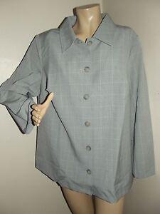 Womens Plus Size 1X Gray Plaid Suit Jacket coat button front blazer (18W-20W)