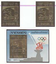 YEMEN Kingdom Olympic Games 1972 Munich GOLD Equestrian stamps + block MNH