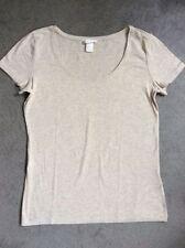 H&M Hip Length Patternless Short Sleeve T-Shirts for Women