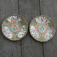 A pair of Chinese canton rose medallion saucer dishes 19th century