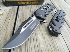 "8.25"" TAC FORCE SKULLS SPRING ASSISTED TACTICAL FOLDING KNIFE Pocket Blade Open"