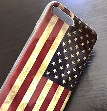 For iPhone 7+ 8+ Plus - HARD TPU RUBBER GEL CASE COVER VINTAGE AMERICAN USA FLAG