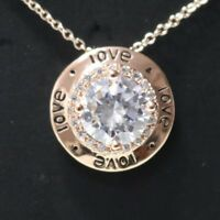 Love Letter Round Solitaire Diamond Pendant Necklace 14K Yellow Gold Plate YW225