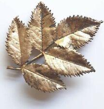Vintaged Signed Danish Botanique Leaf Brooch Pin Badge 1980s Gold Tone Metal