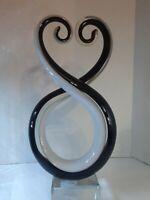 "Abstract Venetian Art Glass Murano Sculpture Black/White Twisting Hearts 10"""
