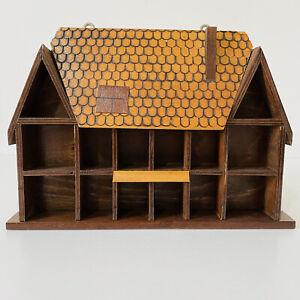 Vintage Wooden Thimble Trinket Curio Display Shelf Retro CuteCottage House Shape