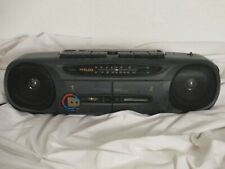 Philco 655K Stereo Radio Double Cassette Tape Recorder Am/Fm Boombox vtg Works