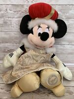 Royal Queen Minnie Mouse Soft Toy Plush Disney Store London Gold Dress Stamped