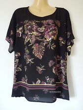 M&s per Una Black Floral Print Beaded Half Sleeve Tunic Size 14