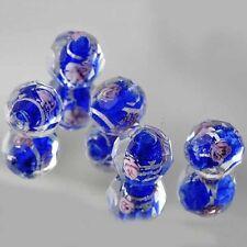 5 PCS Royal Blue CZ Murano Glass FootBall Loose Beads Charms Fit  DIY Bracelet