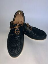 BOTTEGA VENETA Blue Boat Shoes EU 44.5 US 11.5 Intrecciato Slip Ons