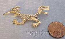 estate vtg 14K GOLD ROADRUNNER BIRD PIN seed pearl & emerald eye handcrafted