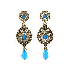 NEW Anthropologie Medieval Calytrice Blue Bead Rhinestone Statement Earrings