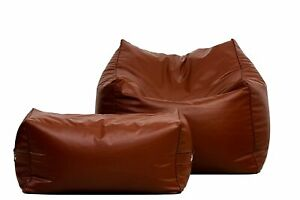 Bean Bag Square Lounger Sofa Cover with Lounge Ottoman, XXXL Without Beans, Tan