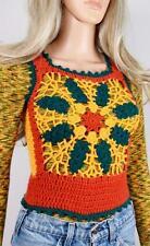 Vtg 1970's Charlie's Girls HiPPiE BoHo Crocheted Woodstock RASTA Sweater Vest XS