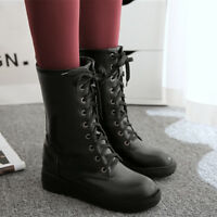 Women Combat Boots Lace Up Mid-Calf Leather Hidden Heels Plush Warm Winter Shoes