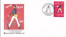 Enveloppe maximum 1er jour 1993 - Journée du timbre La Distribution