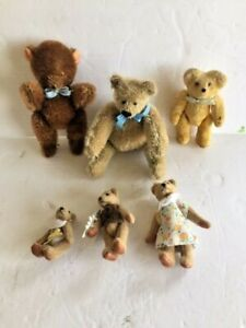6  SMALL VINTAGE  TEDDY BEARS,  Some jointed velour fabric