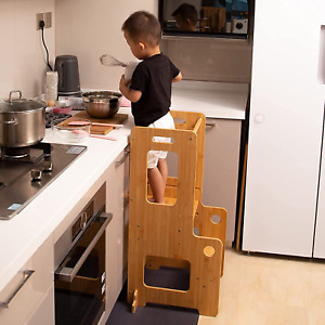 Kitchen Helper Stool for Toddlers, Bamboo Step Stool for Kids, Kitchen Helper wi