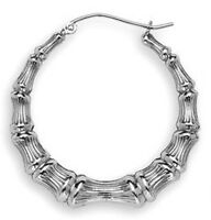 """NEW 4g Solid Sterling Silver Sweet BAMBOO Hoop Earrings 1.5"""" Rhodiom 40mm GORGES"""