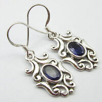 "925 Silver Jewellery !! Authentic VIOLET IOLITE HANDCRAFTED Earrings 1.4"" NEW"