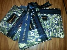 NWT Juicy Couture Flat Cosmetic Bags Camo Green - Set of 3 - $68.00