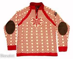 NEW DALE OF NORWAY NANSEN SWEATER Women's M/L - White / Red w/Leather Patches
