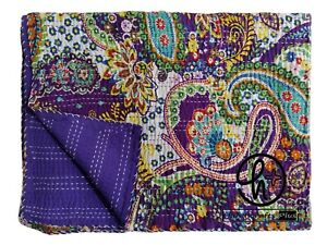 100% Cotton Kantha Quilt Paisley Bedspread All Color Bedding Blanket Beach Ralli