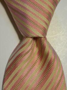 GIORGIO ARMANI Men's 100% Silk XL Necktie ITALY Designer STRIPED Pink/Yellow EUC