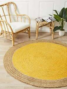 Jute Round Rug Braided Style 100% Natural Jute Area Rug Home Decor Modern Carpet