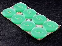 Vintage Set on Card of 8 Pale Green Plastic Buttons - 14 mm (5/8 inch) diameter