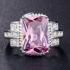 Gorgeous Women 925 Silver Jewelry Three Colors Gemstone Wedding Ring Size 6-10