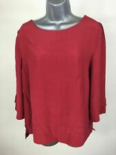 Women's Monsoon Red 3/4 Sleeve Floaty Flared Blouse Top Size UK 12