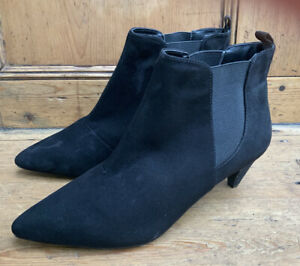 Faux Suede Black Pull on Ankle Boots with Pointed Toes By Next 6.5uk wider fit