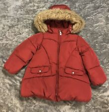 Zara Baby Girl Puffer Jacket Faur Fur Trim Fleece Lined Size 2-3Y Exellent
