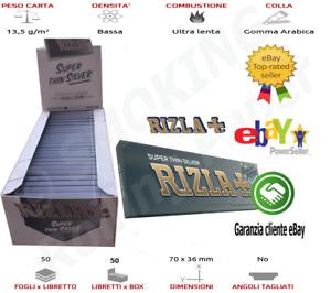 1 Box Rizla Argento Cartine Silver Grigio Corte Misura Regolare 50 Libretti