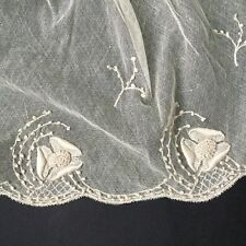 Grand COL ANCIEN Broderie Ecrue 1900 Antique French Lace Collar Embroidery